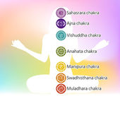 Woman in lotus position with seven chakras. EPS 8 — Stock Vector
