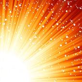 Corazoncitos flotantes sobre los rayos de luz. eps 8 — Vector de stock