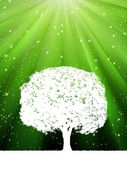 Tree with green burst for your design. EPS 8 — Cтоковый вектор