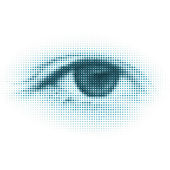 Abstract halftone digital eye. EPS 8 — Stock Vector