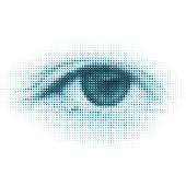 Abstract halftone digital eye. EPS 8 — Stock Vector