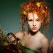 Portrait of beautiful sexual redheaded girl with apples — Stock Photo #10599498