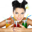 Beautiful sexual girl with glass of juice — Stock Photo
