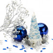 Beautiful christmas composition is isolated on a white background — Zdjęcie stockowe