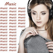 Zdjęcie stockowe: Beautiful girl with headphones isolated on a white background