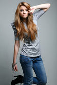 A photo of beautiful girl is in fashion style, glamur — Stock Photo