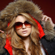 A photo of sexual beautiful girl is in fashion style in a jacket with a fur — Stock Photo