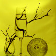 A wineglass, two glass vases and some twigs — Stock Photo