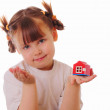 Little girl with key and house in her hands — Stok Fotoğraf #9570459