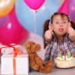 Birthday celebration of funny little girl — Stock Photo