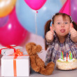 Birthday celebration of funny little girl — Stock Photo #9726420