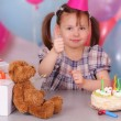 Smiling little girl celebrates her Birthday — Stock Photo