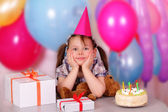 Beautiful little girl on her Birthday — Stock Photo