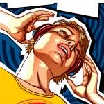 Girl with headphones template — Stock Vector #10199651