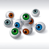 Eyeballs on white background — Stock Vector