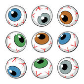 Set of eyeballs on white background — Stock Vector