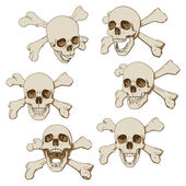 Six skulls set — Stock Vector