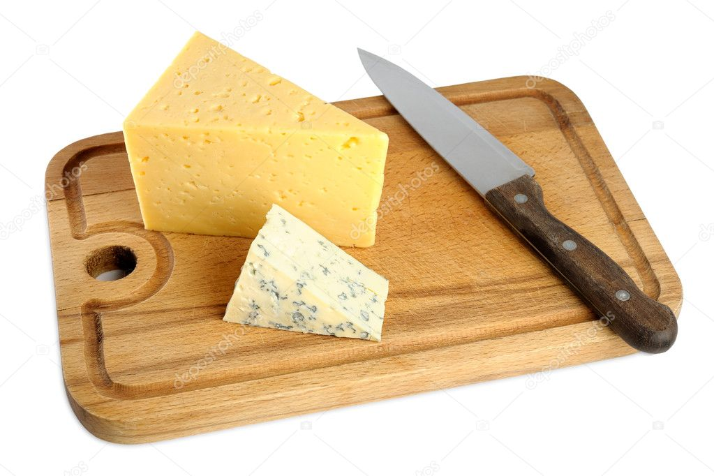 Cheese on cutting board isolated on white background for White cutting board used for