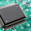 Chip on circuit board closeup — Stock Photo #9424956