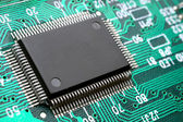 Chip on circuit board closeup — Stock Photo
