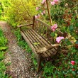 Beautiful romantic garden with wooden bench and azalea trees — Stock Photo