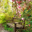 Beautiful romantic garden with wooden bench and azalea trees — Stock Photo #10536496
