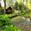 Stock Photo: Beautiful romantic garden with a pond in Springtime