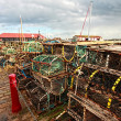 Lobster pots at a small Scottish harbour — Stock Photo
