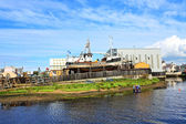 Girvan, Scotland, old harbour, renovation of an old ship. Summer 2011 — Foto de Stock
