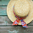 A lovely summer hat on the shed wall - Stockfoto