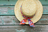 A lovely summer hat on the shed wall — Foto Stock