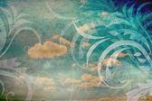 Gökyüzü ve çiçekler ile antika arka plan — Stok fotoğraf