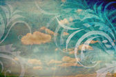 Vintage background with sky and florals — 图库照片