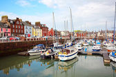 Arbroath Harbour with a view on High Street — Stok fotoğraf
