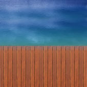 Wooden wharf and blue — Stock Photo