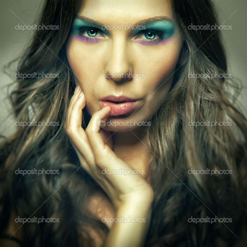 Closeup colorfull makeup beautiful girl portrait — Stock Photo #9403201