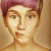 Hair style colorful emotive girl portrait — Stock Photo