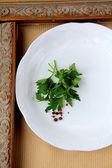 Plates with sprig of parsley - organic menu — Fotografia Stock