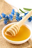 Fresh golden honey in jar with a wooden spoon and flowers — Stock Photo