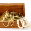 Treasure chest  gold jewelry, bracelets and pearl — Stock Photo