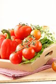 Different fresh vegetables in a wooden bowl — Stock Photo