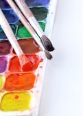 Watercolor paints and brushes- the concept of Art — Stock Photo
