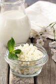 Natural dairy product cottage cheese on a wooden table, rustic style — Stock Photo