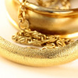 Stock Photo: Macro shot gold jewelry, bracelets and chains