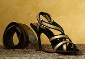 Fashion stylish women's shoes at the glamorous background — Foto de Stock