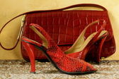 Fashion stylish red women's shoes at the glamorous background — Stockfoto