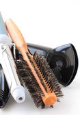 Hair dryer and brush on a white background — Stock Photo