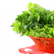 Fresh green grass parsley dill onion herbs mix in a wicker basket — Stock Photo #9688456