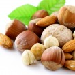 Royalty-Free Stock Photo: Mix nuts - walnuts, hazelnuts, almonds on a white background