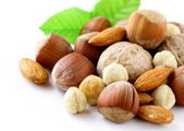 Mix nuts - walnuts, hazelnuts, almonds on a white background — Stock Photo